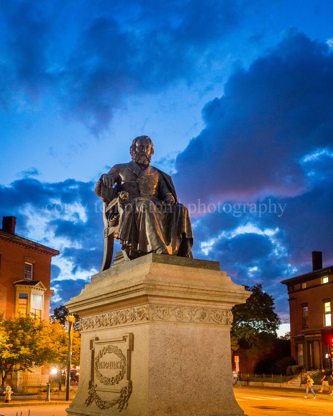 Longfellow Square Statue, Summer Night