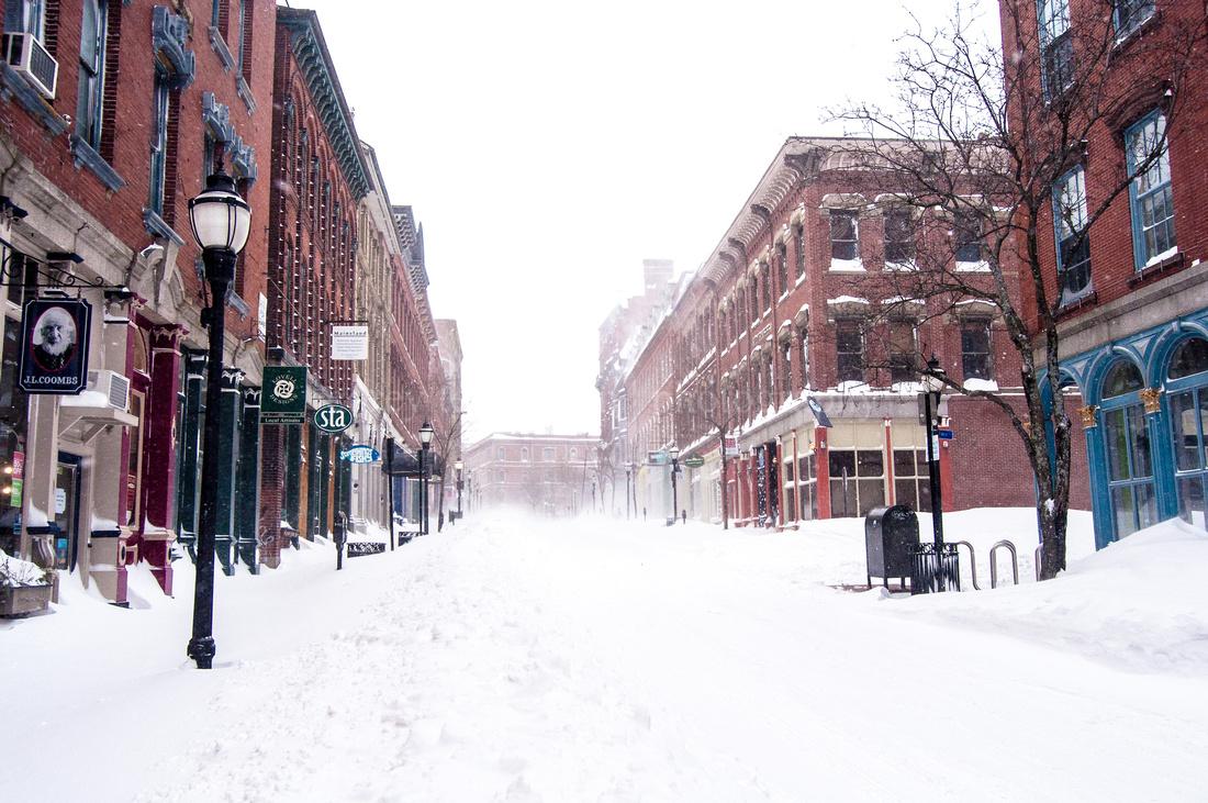 Portland Maine Old Port New England Exchange Street Snow Blizzard