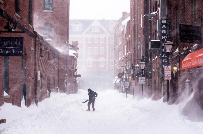 Portland Maine Blizzard Shoveler of Snow Wharf Street