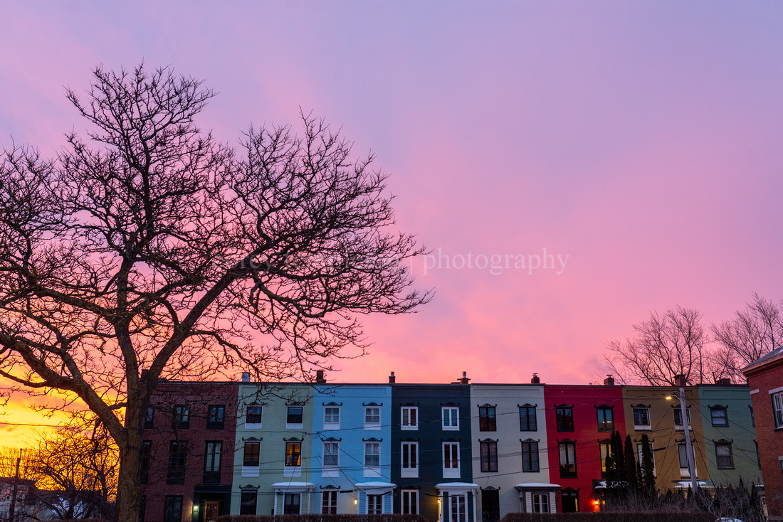Stratton Place Row Houses and Dramatic Sunrise