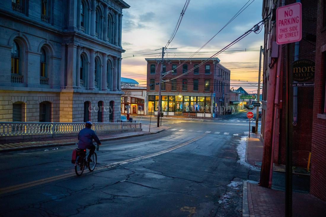 Biking Down Pearl Street in the Old Port