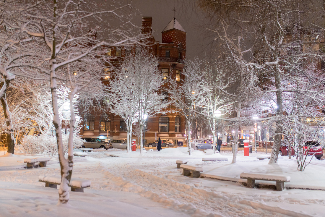 Post Office Park, Winter Night After Snow