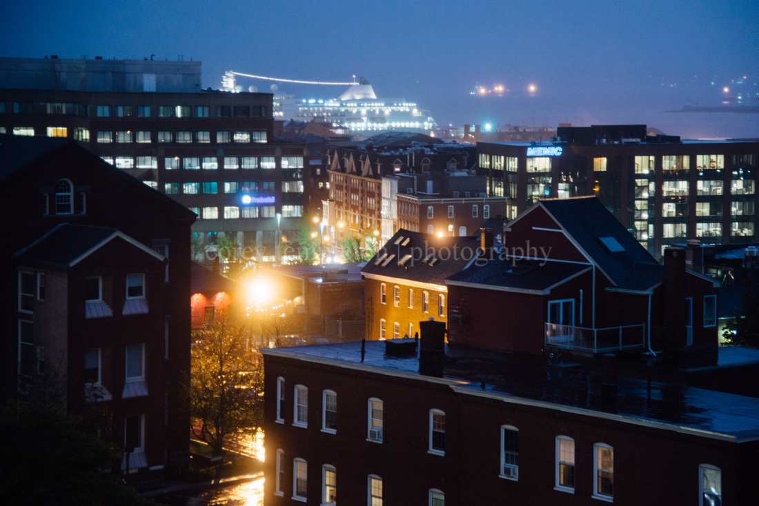 Rainy Night Over the Old Port, with Cruise Ship in Town