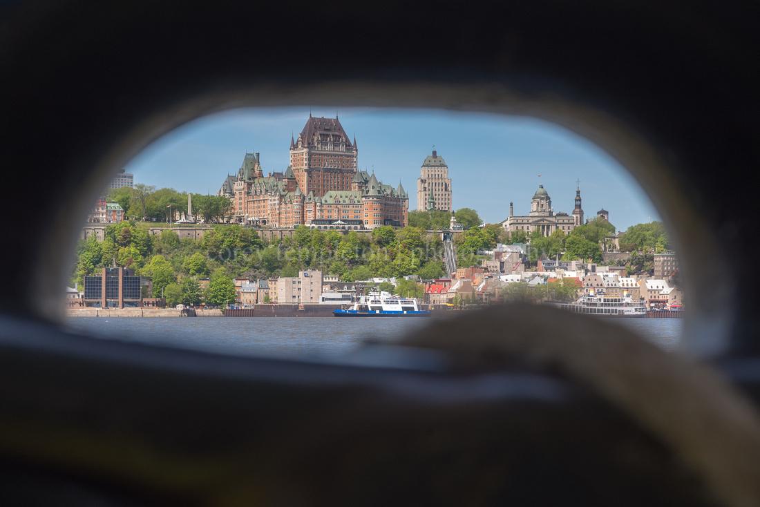 Quebec City Through The Ferry' Hawsehole