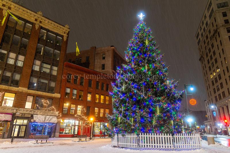 Portland Maine Monument Square Christmas Tree 2021 Corey Templeton Photography Portland Maine Winter Monument Square Christmas Tree Snowy Night