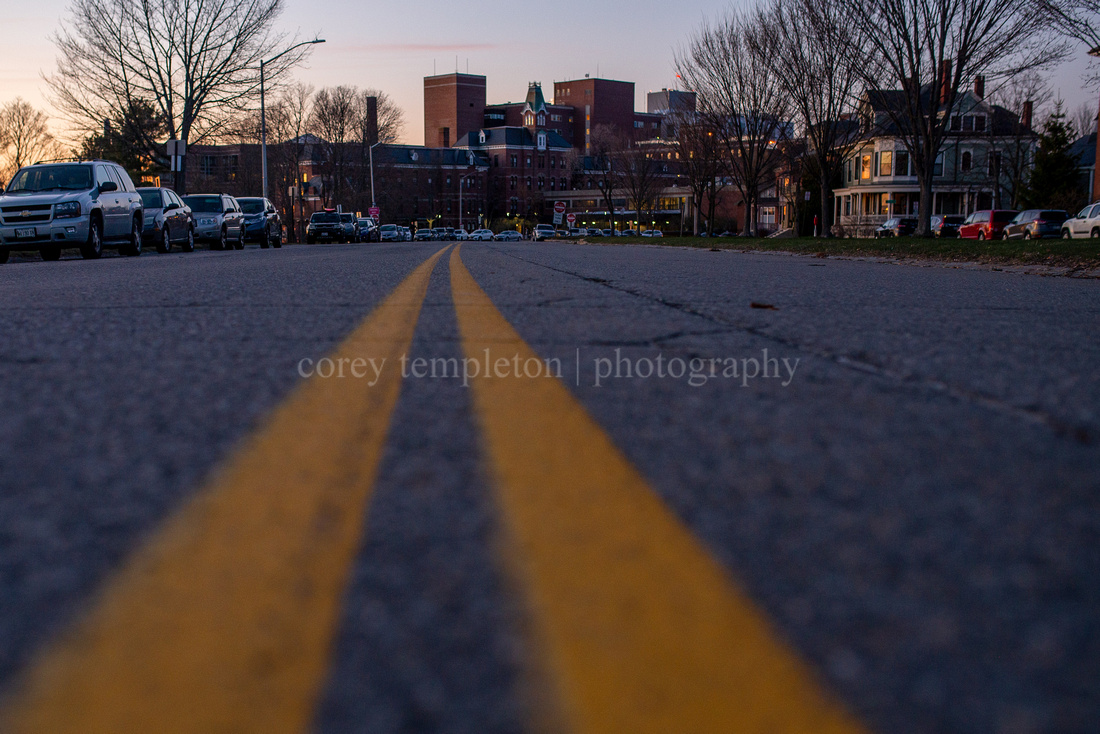 Yellow Road Lines Leading to Maine Medical Center