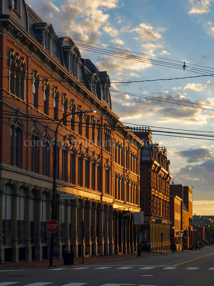 Morning Light on Block of Brick Buildings on Middle Street
