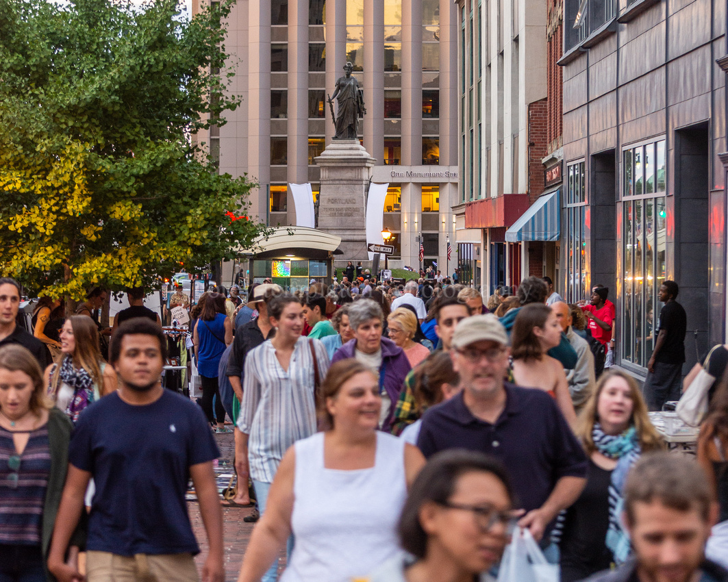 First Friday Crowds in Monument Square