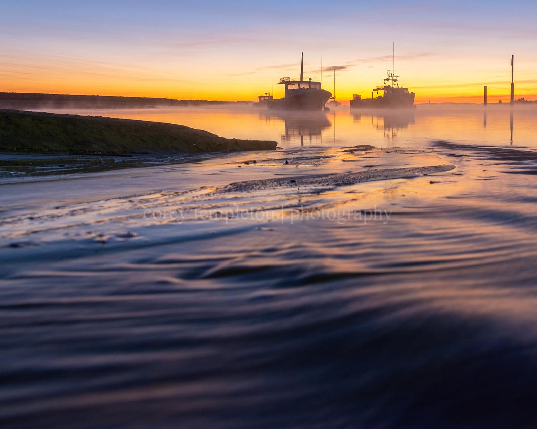 Shifting Sand and Lobster Boats at Camp Ellis at Sunrise