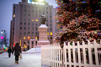 Monument Square Statue and Christmas Tree
