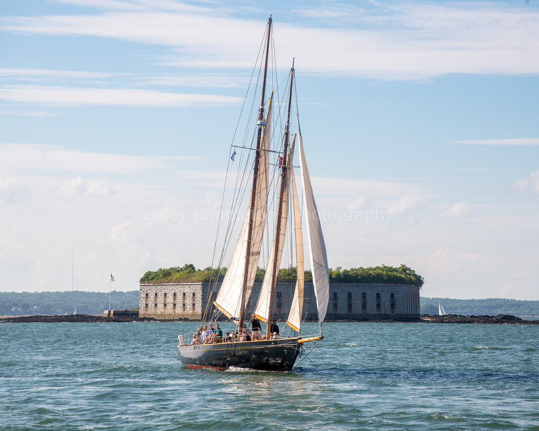 The Schooner Bagheera in Front of Fort Gorges