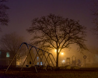 Foggy Night at the Reiche Elementary School Playground