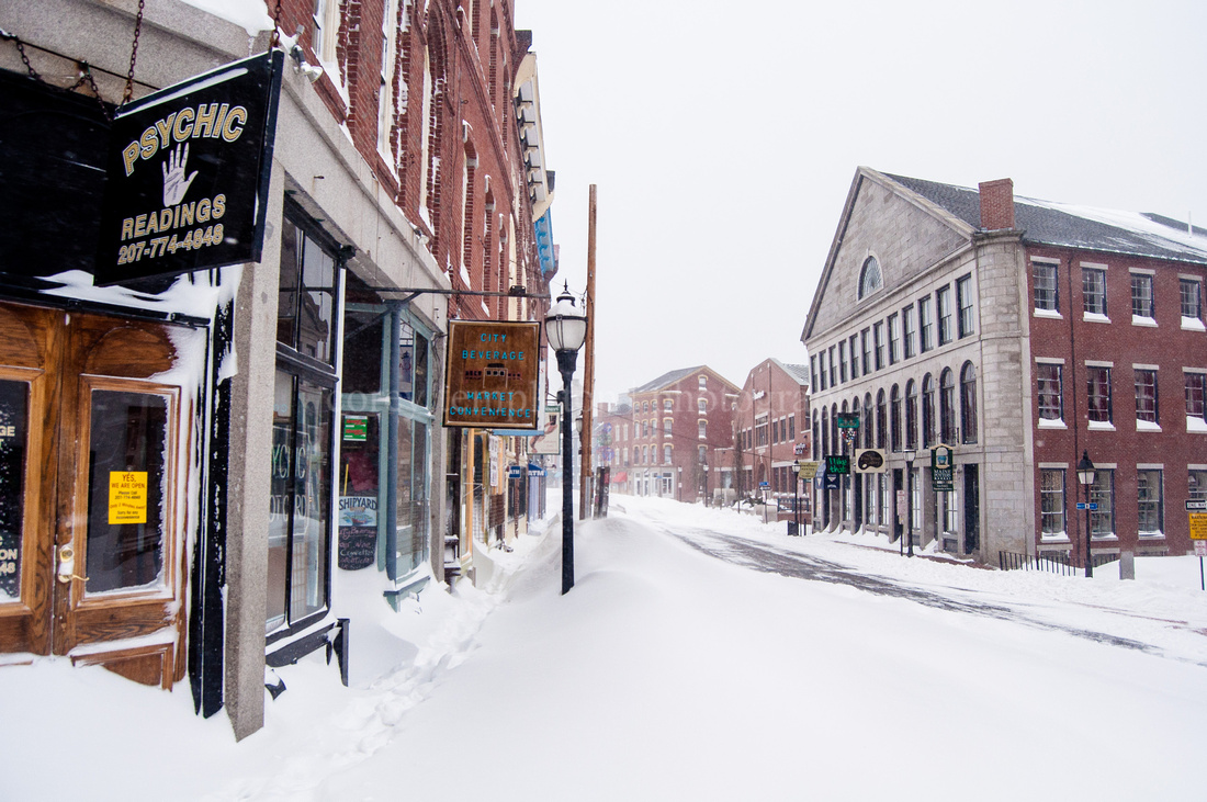 Portland Maine Fore Street Winter Snow Old Port